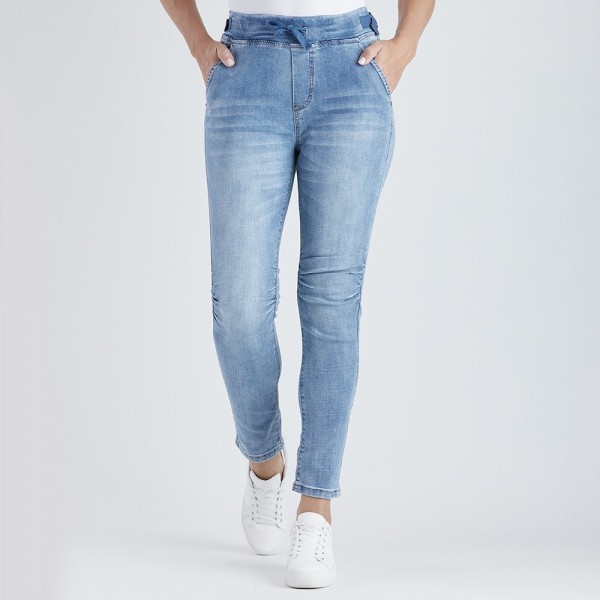 Threadz Tie Front Gathered Jean (#36713)
