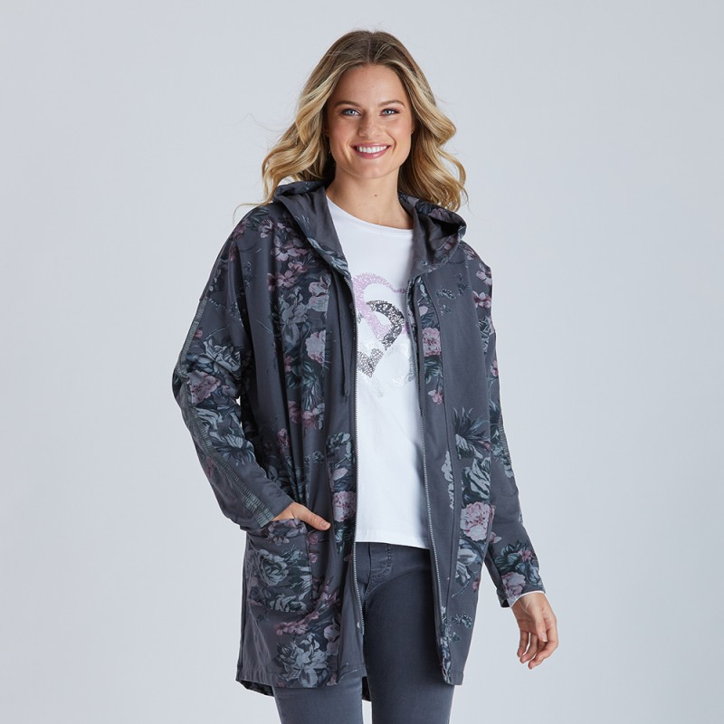 Threadz Floral Track Zip Jacket with Hood (#38463)